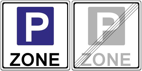 Beginn und Ende einer Parkzone: Verkehrszeichen 314.1 und 314.2